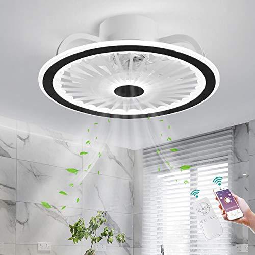 TATANE Invisible Techo Ventilador LED Iluminación App y Control Remoto Ultradelgado Silencio Luz del Ventilador 40W Regulable Lámpara de Techo Moderno Cuarto Sala Tranquilo Ventilador Ø50CM,Negro