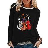 ReooLy - Camiseta de Manga Larga con Cuello Redondo y Estampado de Halloween para Mujer(Negro,M)