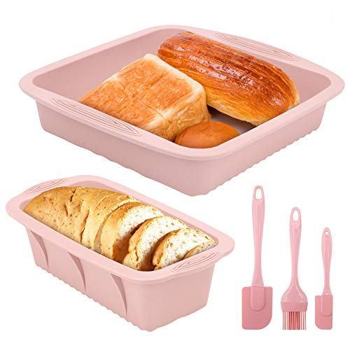 2 pezzi stampo per pane in cassetta stampo plumcake silicone antiaderente Stampi per pane con spatole in silicone e pennello da pasticceria