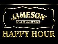 Jameson Irish Whiskey Happy Hour Bar LED看板 ネオンサイン ライト 電飾 広告用標識 W30cm x H20cm イエロー