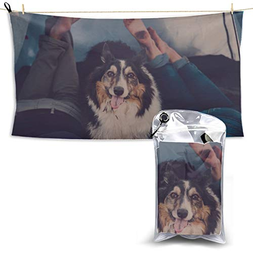 WIEDLKL Two Dogs in A Tent Camp Dry Towel Baby Girls Beach Towel Microfiber Quick Dry Towel Dry Travel Towel 27.5'' X 51''(70 X 130cm) Best for Gym Travel Camp Yoga Fitnes