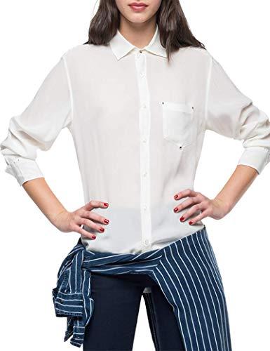 Replay Damen W2259A.000.82798 Bluse, Weiß (Off White 11), Large (Herstellergröße: L)