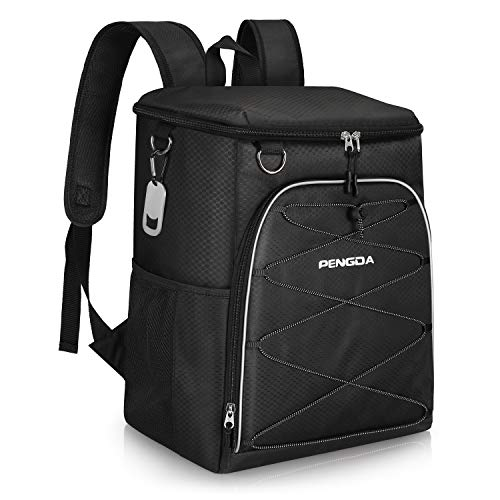 PENGDA Cool Bag Rucksack - 25 Cans Insulated Backpack Large Capacity Lightweight Waterproof Cooler Bags for Camping Hiking Lunch Picnic Daypack (Black)