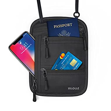 Miolle RFID Fitness Travel Neck Wallet Bag Passport Holder - Neck Bag Passport Wallet for Men and Women