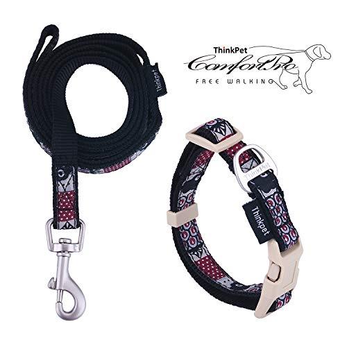 ThinkPet Hundehalsband & Hundeleine im Set - Haustier Halsband aus strapazierfähigem Nylon für kleine Hunde Welpen Walking/Wandern