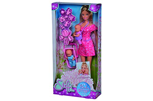 Simba 105730211 - Steffi Love Babysitter / mit zwei Babys / mit Baby-Tragegurt und Babyschale / Zubehör / Ankleidepuppe / 29cm, für Kinder ab 3 Jahren