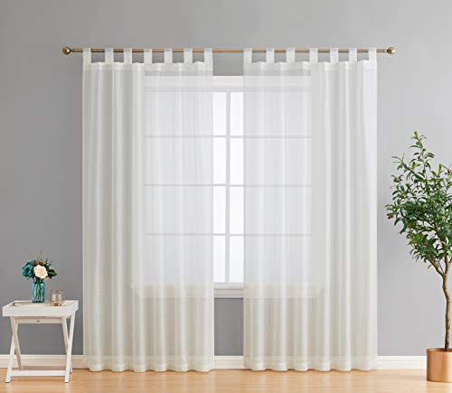 HLC.ME Addison Semi Sheer Light Filtering Transparent Tab Top Lightweight Extra Long Window Curtains Drapery Panels for Bedroom & Living Room, 2 Panels (54 x 108 Inch, Ivory)