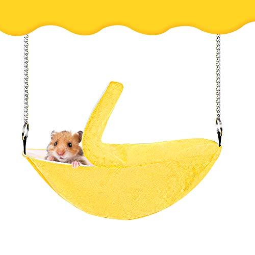 OhhGo Hamster Hanging House Hammock Banana Design Hanging Swing Bed Comfortable Plush Winter Warming Nest Hamster Toys Sleeping Nest(Yellow)