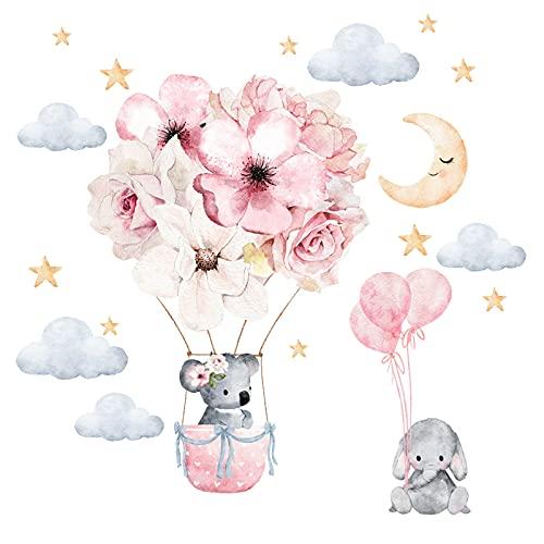 Little Deco Adesivo da parete per cameretta dei bambini, motivo elefante, Koala I, 57 x 40 cm (larghezza x altezza), motivo: palloncino e fiori per la camera dei giochi, DL212-21