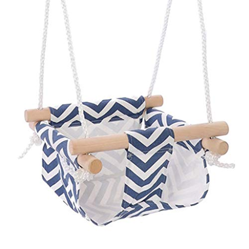 Camisin Baby Children Canvas Swing Chair Wooden Indoor Outdoor Small Swing Rocking Chair