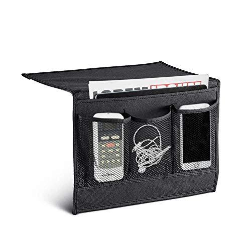 SITAKE Organizador de almacenamiento para mesita de noche, bolsa de almacenamiento colgante con 4 bolsillos para control remoto, libros, revistas (negro)