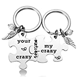 Your Crazy Matches My Crazy Personalized Couple Keychain Jigsaw Puzzle Pieces...