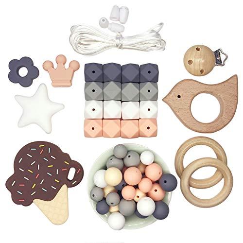 DIY Baby Silikon Kinderkrankheiten Perlen Set Pflege Halskette Kauen Armband Zubehör Sechseckperlen Schnullerclip aus Holz Beißring Duschgeschenk