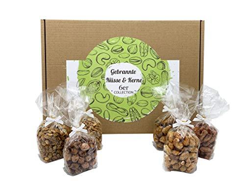 Hopser Food Fun Gebrannte Nüsse & Kerne - Tolles Geschenkset, 6 Sorten - Traditionell aus hochwertigen Zutaten hergestellt - Geschenk für Männer & Frauen, zu Weihnachten, Geburtstag - 6 x 100 g