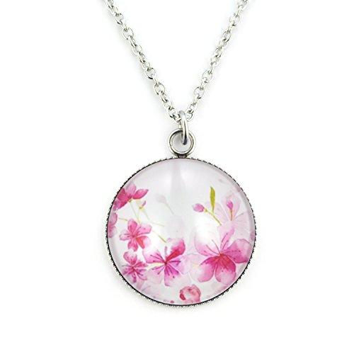 SCHMUCKZUCKER Damen Mädchen Halskette mit Anhänger Motiv Sommer Blüten Blumen lang mit großem Anhänger - Weiss