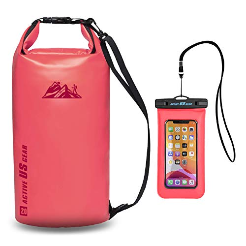 ACTIVE US GEAR Dry Bag Set – Heavy-Duty Waterproof Floating Pack with Touch-Friendly Phone Case - Lightweight Durable Travel Gear for Kayaking,Fishing,Boating,Water Sports Rose Pink 20L