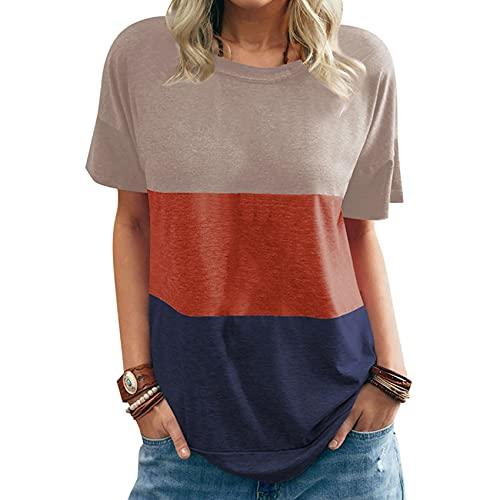 Camiseta de Tres Colores con Cuello Redondo y Manga Corta de murciélago Suelto con Cuello Redondo para Primavera y Verano para Mujer