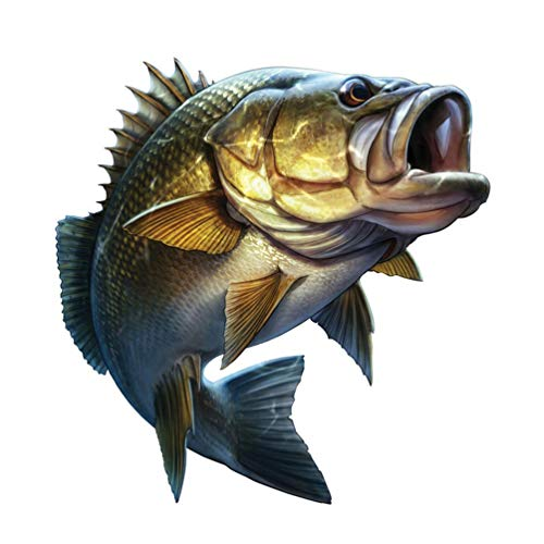 "2Pcs Largemouth Bass Decal Bass Boat Graphics Fishing Decals Car Window Decals Vehicle Fish Stickers for Truck 7.5""x7.8"""