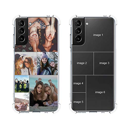 Custom Phone Case for Samsung Galaxy S21 5G, Personalized Multi-Picture Collage Photos Phone Cases,Customized Name Phone Cover for Birthday Xmas Valentines Her and Him,Uartify Clear Case