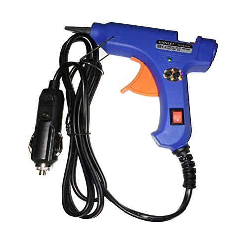 Vosarea Hot Melt Glue Gun,12 V Upgraded Removable Anti-hot Cover Glue Gun Kit with for DIY Small Craft Projects,Sealing and Quick Daily Repairs 20-watt (Blue)