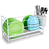 SEVENMAX Dish Drying Rack - Dish Drainer for Kitchen Counter Dish Rack with Drip Tray Utensil Holder Compact Dish Plate Organizer for Countertop