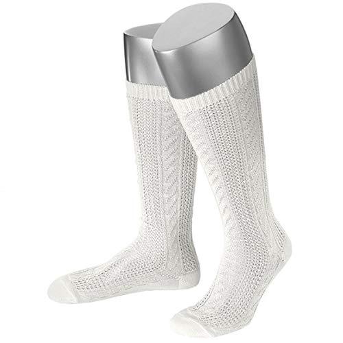 JD Damen Trachtensocken Trachtenstrümpfe Zopf Socken, Göße:42-44, Farbe:Weiß