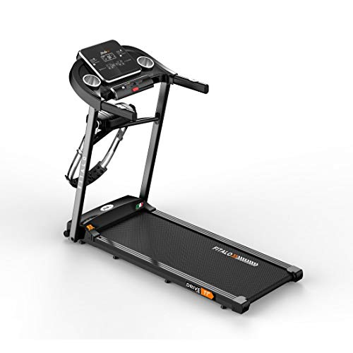 Fitalo Drive T1 Plus (3.0 HP Peak) DC Motor Motorised Treadmill with Massager & Twister | Free Installation & Warranty | for Home use, Black