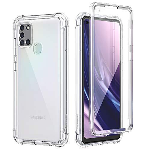 SURITCH für Samsung Galaxy A21s Hülle Schutzhülle 360 Grad Stoßfest Durchsichtige Front Und Rückenschutz Handyhülle mit Kameraschutz Transparent TPU Bumper Eingebautem Bildschirmschutz (Klar)