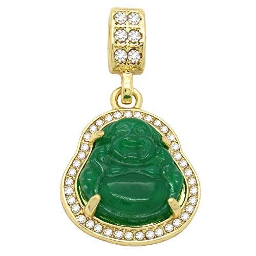 L & L Nation 14K Gold Plated High Fashion Lucky Smiling Buddha Charm Pendant Green Red White Black Blue On Mariner Chain (1.Green)
