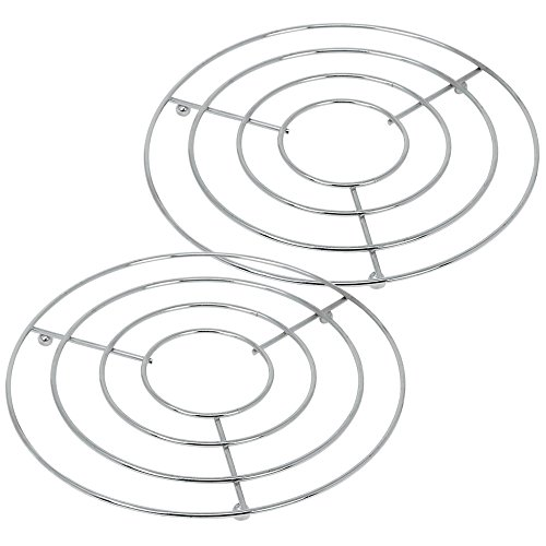 com-four® 2X Topfuntersetzer aus Metall - runder Untersetzer für Töpfe, Pfannen oder Teekannen - Ø 20 cm