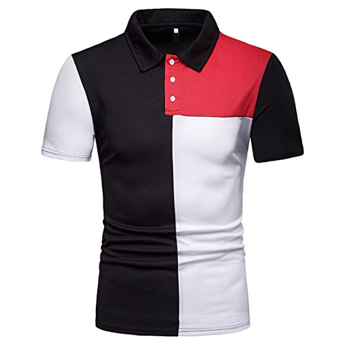 MENHG Men's Soft Regular Fit Classic Design Summer Polo Shirts Contrast Color Sports Plus Size Striped Casual Cotton Comfortable Breathable Formal Business T-shirt Blouse Short Sleeve Non Iron Tee Top