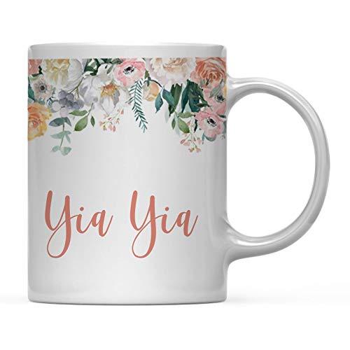 Regalo de la Taza de café del día de la Madre, Flores de durazno, Rosas Florales, YIA YIA, Despedida de Soltera, cumpleaños, Navidad, Regalo de Agradecimiento para Ella, 11 oz