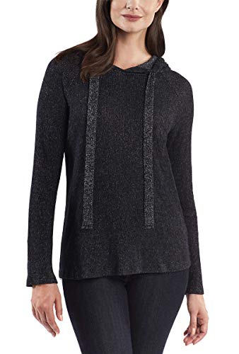 Kenneth Cole NY Ladies Knit Hoodie (S, Black/White)