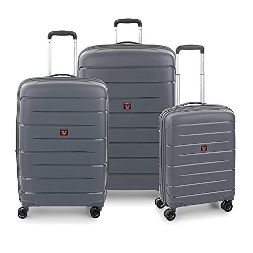 RONCATO Flight DLX Set 3 maletas rígidas ampliables 4 ruedas con TSA Antracita