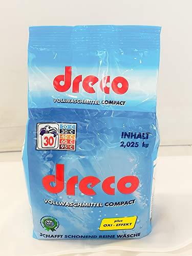 Dreco Vollwaschmittel Compact Pulver, OXI- EFFEKT, 2,025 kg 1er Pack, 30 WL