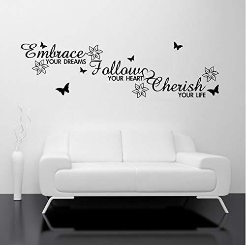 Familie liefde droom hart kamer muur kunst Vinyl Sticker citaat Embrace volgen Cherish Decal muurschildering sjabloon overdracht 74x21cm