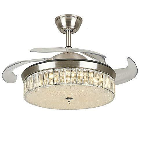 Ventilador de techo con iluminación LED regulable en 3 colores, lámpara LED de techo con alas abatibles 42', con mando a distancia, plateado (plata)