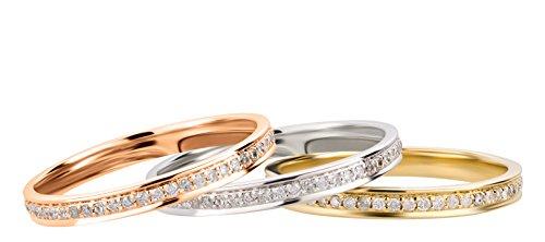 Ardeo Aurum Damenring aus 585 Gold Rosegold mit 0,27 ct Diamant Brillant Memory-Ring Eternity Vorsteckring