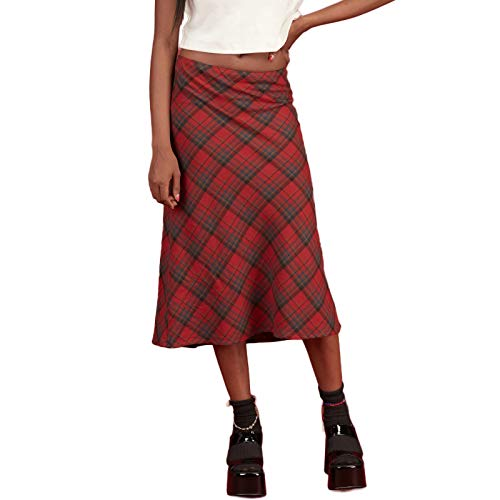 Boho Midi Skirts for Women Printed High Waist A Line Plaid Skirt Long Maxi Pencil Skirt Slim Bodycon Streetwear Y2k Skirt (Style F Red, Large)