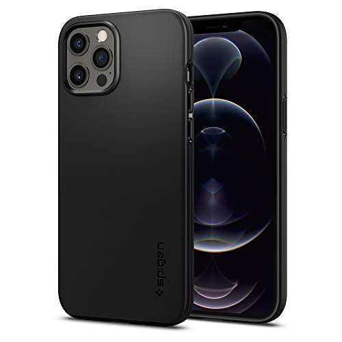 Spigen Funda Thin Fit Compatible con iPhone 12 Pro MAX - Negro