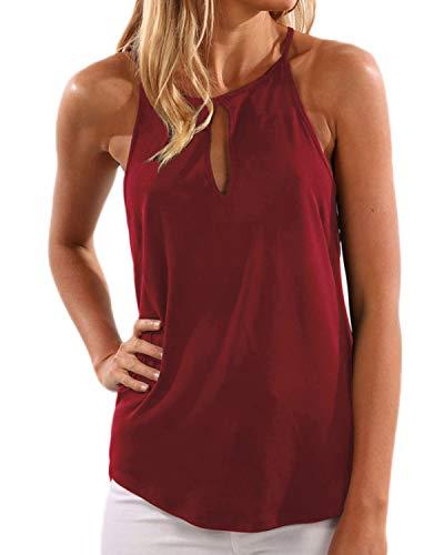 YOINS Donna Top Canotta Estiva T-Shirt con Scollo a V e Spalle Scoperte Vino Rosso L/EU44