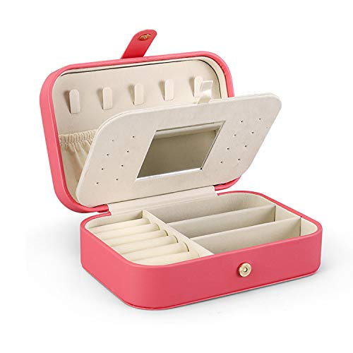 Double Travel Jewelry Cases for Women Portable Jewelry Storage Box with Mirror Small Jewelry Boxes Organizers for Girls Gift Light red