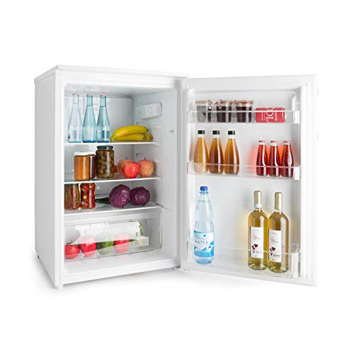 Klarstein Springfield Eco, A+++ / 124L Kühlteil, stromsparender Kühlschrank ohne Gefrierfach, Edelstahl Design, 85 cm, Freistehend, weiß