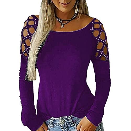 Camiseta Mujer Sexy Chic Sin Tirantes Manga Larga Decoración Pedrería Cuello Redondo Color Sólido Mujer Shirt Primavera Verano Temperamento Elegante Mujer Tops B-Purple 3XL