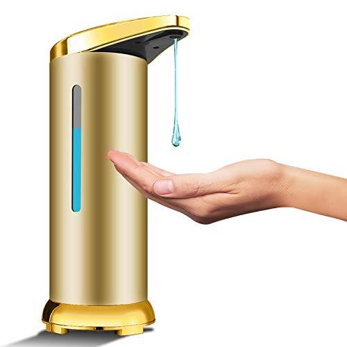 Bigmeda Dispensador Automático de Jabón de Acero Inoxidable, Dispensador de Desinfectante sin Contacto con Sensor de Infrarrojos, Interruptor Ajustable y Base Impermeable, Baño Cocinas (Mate Dorado)