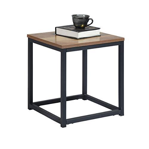 Mueble Cosy Facto End Dark Wood R1 Auxiliar Mesa Baja/angulosa para salón, Extremo de sofá, Estructura de Metal y Parte Superior de Madera, Estilo Industrial, marrón Oscuro, 35 x 35 x 40 cm