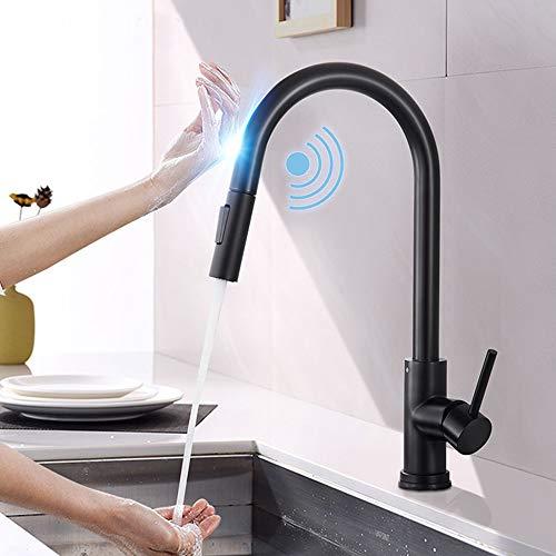 Onyzpily Schwarz Edelstahl Induktive Touch küchenarmatur mit ausziehbar 360° drehbar Armatur Spüle Mischbatterie Einhebel Spültischarmatur Küchen Wasserhahn Dual Outlet Wassermodi