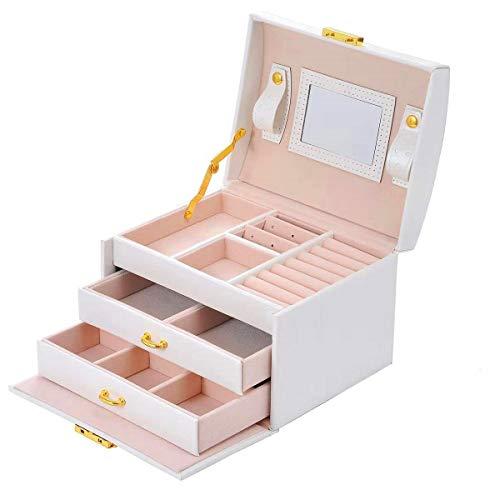 Delgeo Caja para Joyas Pendientes Pulseras Anillos, Caja Joyero con Espejo y Cajones, Cajas para Joyas Regalo, Organizador Joyero con Cerradura - Blanco Perla
