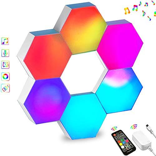 Sechseck LED Leuchten Sync mit Musik, Smart LED Wandleuchten mit RF-Fernbedienung Eingebautes Mikrofon Modulare Licht Platten DIY Geometrie Spleißen Quantum Nachtlicht für Zuhause Bar Dekor, 6 Stück