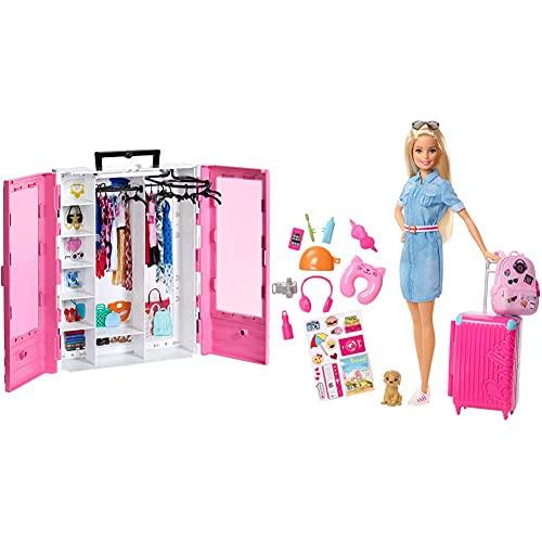 Barbie Armadio Fashionistas Rosa Con Accessori, Bambola Non Inclusa, Giocattolo Per 3+ Anni & In Viaggio Bambola Bionda Con Cucciolo, Valigia Che Si Apre, Adesivi E Accessori, Giocattolo Per 3+ Anni
